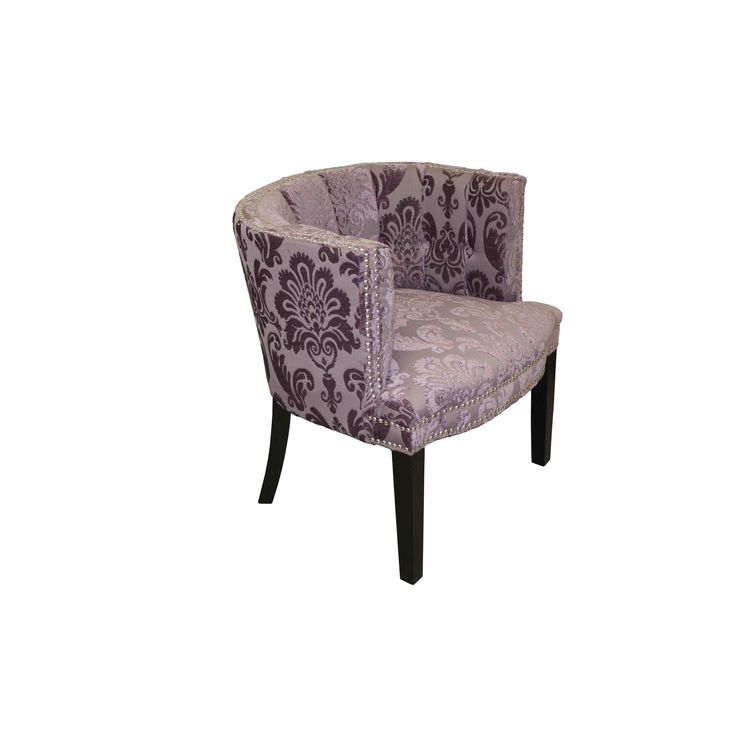 Complete your interior decor with this sophisticated chair. Featuring a damask pattern in purple, this chair is complete with a birchwood frame and silvertone nailhead trimming.