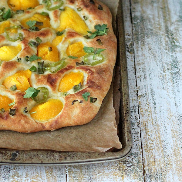 Mango and Hatch Chile Pizza (vegan, but I'm totally adding cheese)