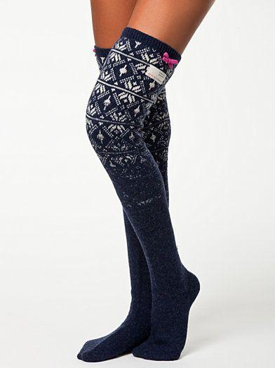 Jaquard Long Sock - Odd Molly - Indigo - Socks - Underwear - Women - Nelly.com