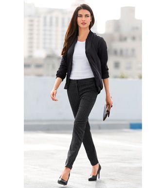 Pantalón vestir mujer tiro alto rayas sastre Mujer 27 Venca