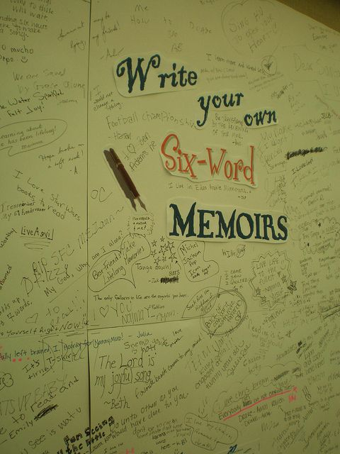 "Six Word Memoir - I love the idea of having students write one at the beginning of the school year at the middle school level instead of the same old ""get to know you"" activities."