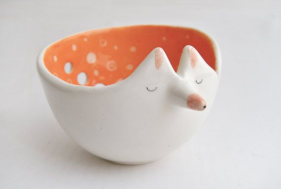 Ceramic Fox Yarn Bowl Decorated in Orange Color and with Sgraffito of Polka Dots Inside on Etsy, £20.24