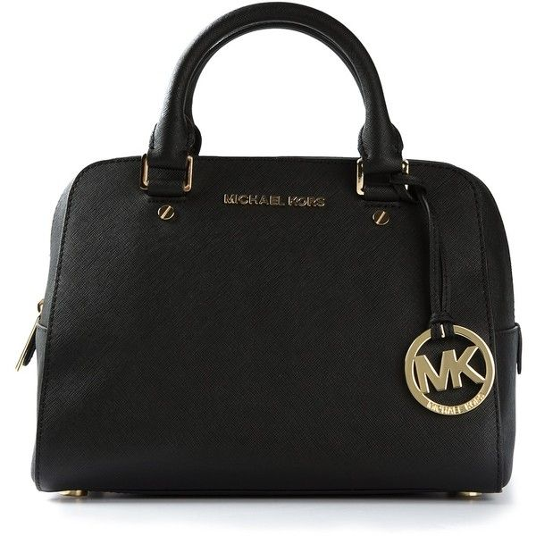 MICHAEL MICHAEL KORS logo fob bowling bag found on Polyvore