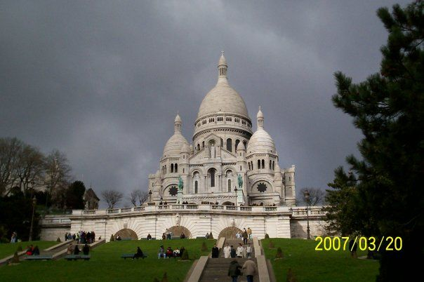 Sacre Coeur in Paris on an overcast day.
