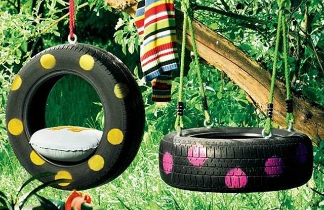 Recycler des vieux pneus, en balançoire idées déco #pneu # ...