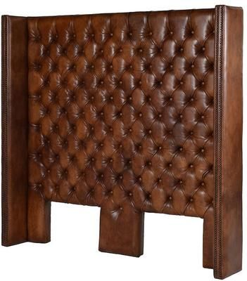 Davinci Brown Leather Buttoned Headboard by Alexander and Pearl