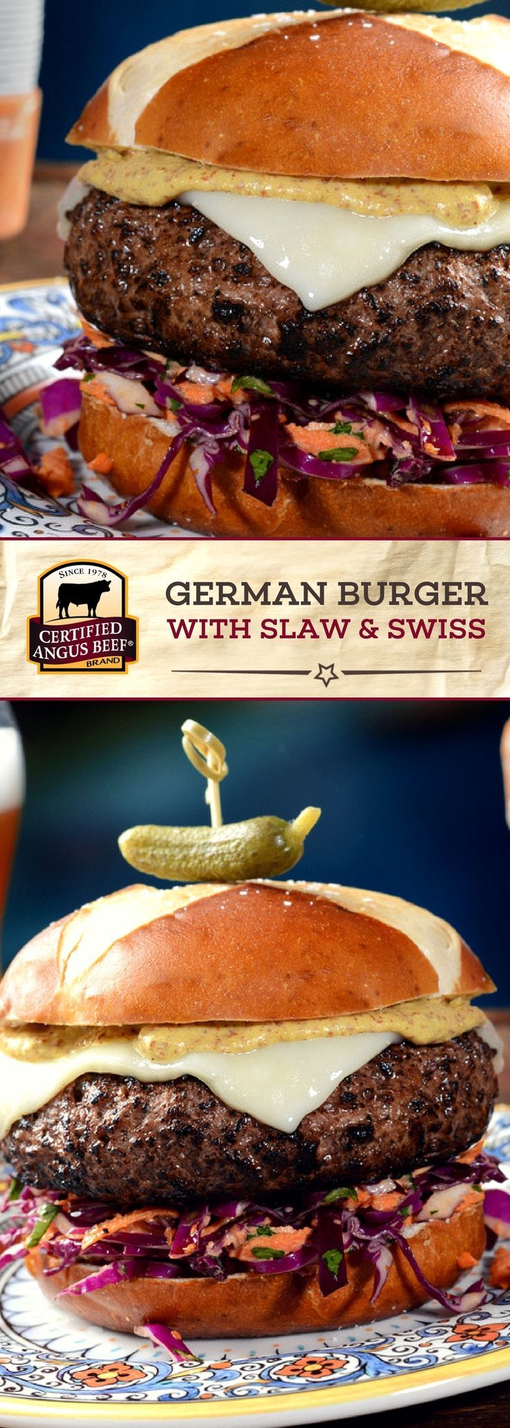 The Certified Angus Beef®️️️ brand German Burger with Slaw & Swiss on a Pretzel Bun is made with the BEST ground chuck, perfectly seasoned and then topped with condiments and a DELICIOUS homemade slaw. #bestangusbeef #certifiedangusbeef #beefrecipe #burgerrecipe