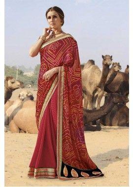 couleur rouge georgette, jacquard saree, - 94,00 €, #Robeindienne #Tenueindienne #Sarimariage #Shopkund