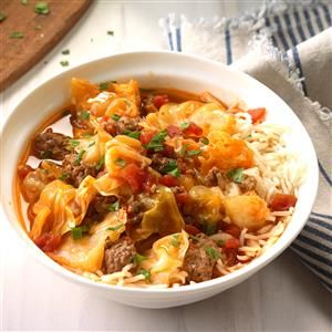 Cabbage Roll Stew Recipe -A head of cabbage seems like it never ends. Here's a delicious way to use it up. My husband is this stew's biggest fan. —Pamela Kennemer, Sand Springs, Oklahoma