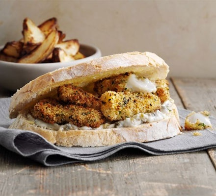 Fish finger sarnie. Nostalgic and indulgent, this fish finger buttie is a real home comfort.
