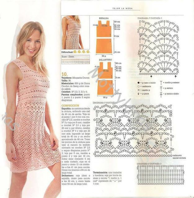 lovely summer dress with explained chart and further instructions and tips