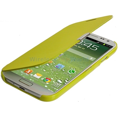 Yellow Wallet Magnetic Closing Hard Case for Samsung Galaxy S4 SIV Phone