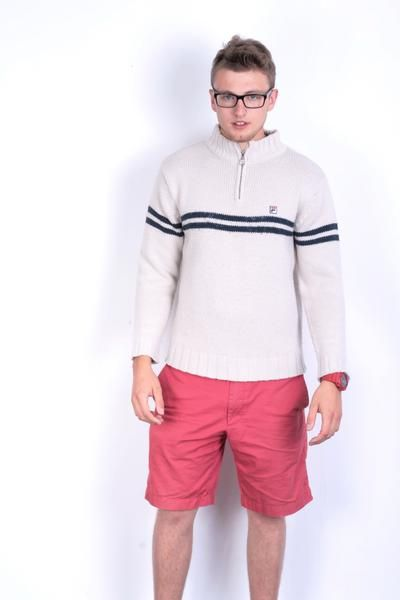 Fila Mens M 38/40 Jumper Sweater Zip Neck Beige - RetrospectClothes