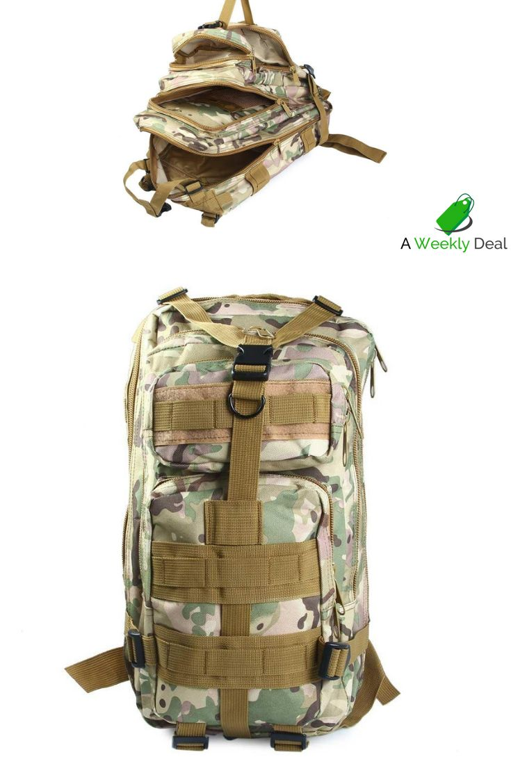 e2691ac1e84b Keep your gear safe and close at hand with this Military Tactical Backpack.  There are three outside zipper pockets in addition to the l…