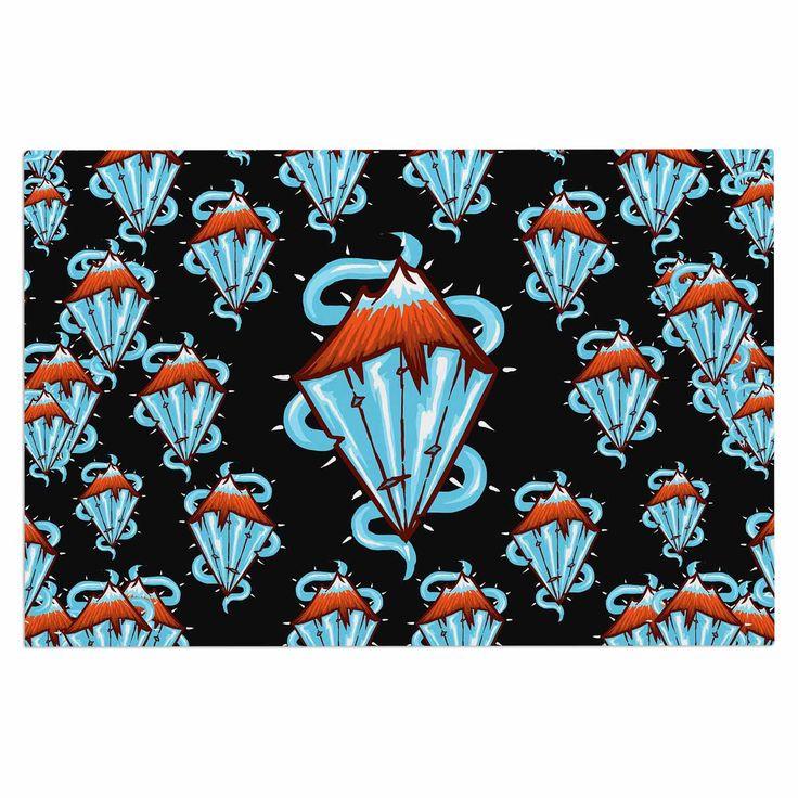 "BarmalisiRTB ""Diamond Mountain"" Orange Blue Decorative Door Mat"