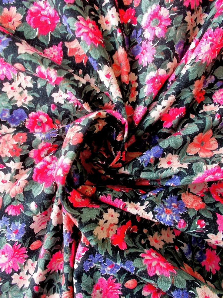 Vintage Cotton Dress Fabric - 1960's/1970's - Black background with a riot of flowers in pink, peach & lavender blue - 1 piece - Unused