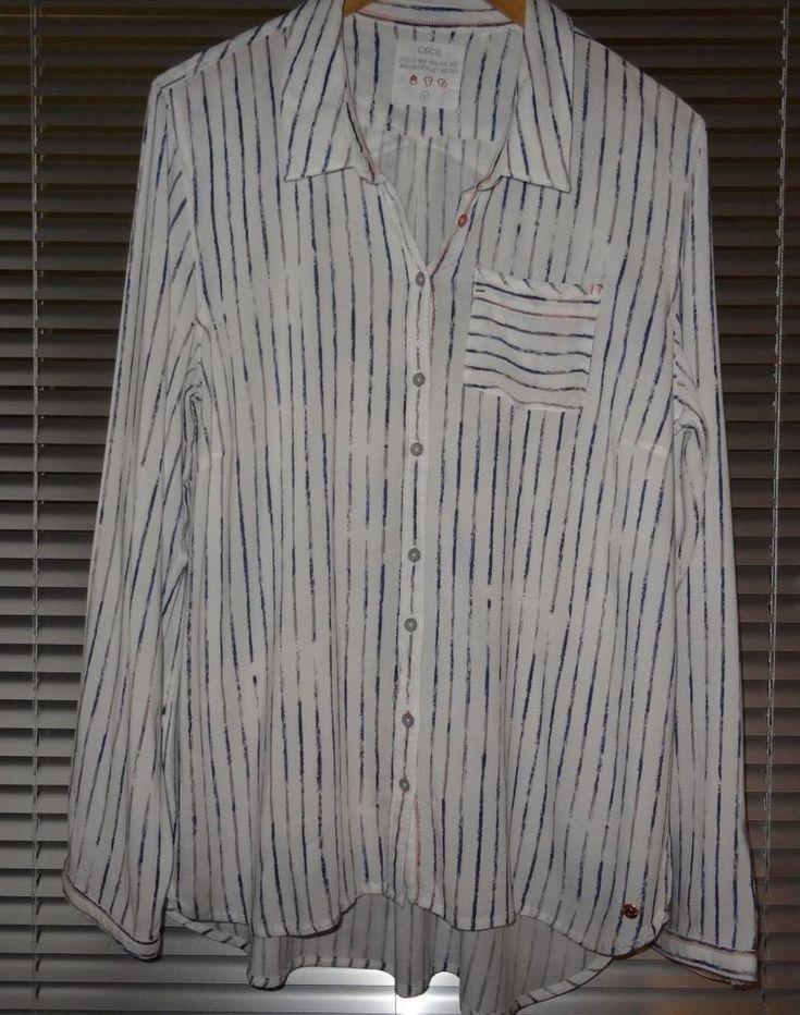 CECIL locker lässige Streifen Bluse Größe L