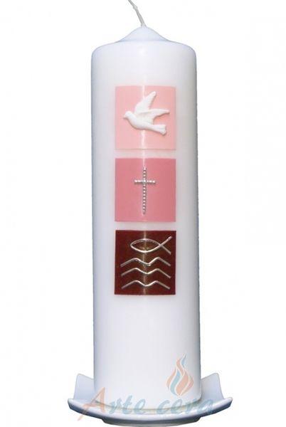Taufkerze Taube, Kreuz, Fisch (rosa)  von  Taufkerzen Arte cera auf DaWanda.com