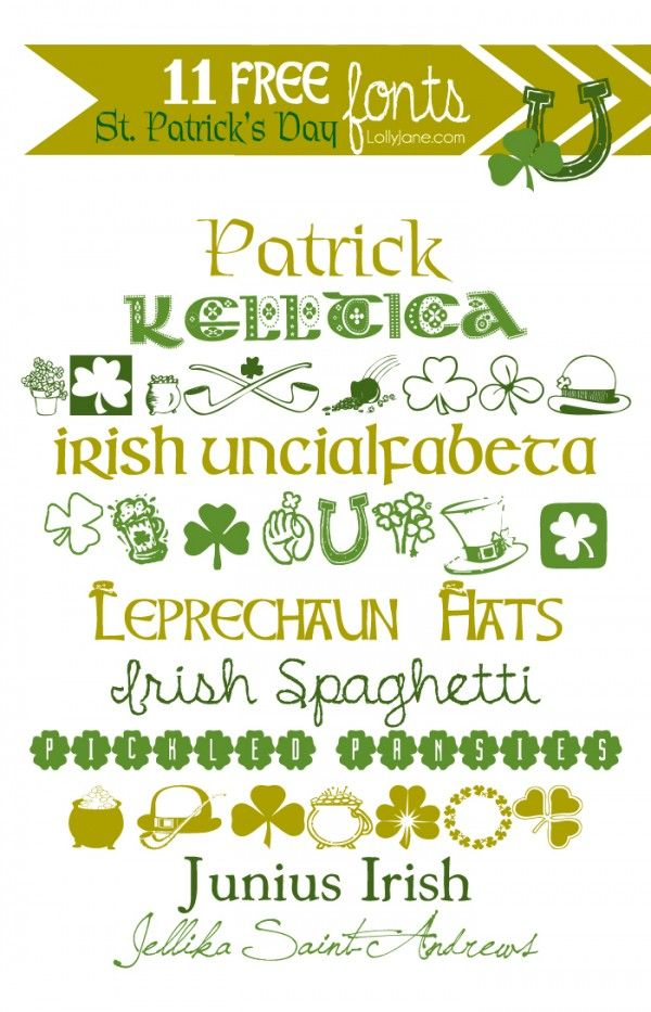 11 FREE St. Patrick's Day Fonts || lollyjane.com  ~~ {11 free fonts w/ links}