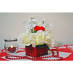Valentine Day Decor, Valentine Basket, Floral Arrangement Table Decoration, White Roses Purity, Ready to Ship!