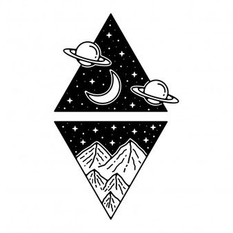 Mountain Outer Space Monoline Vintage Badge