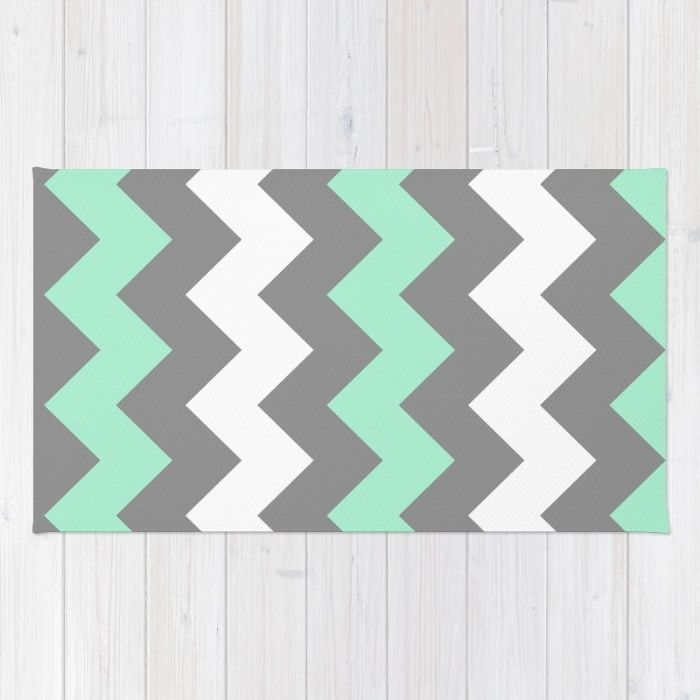 Mint White Grey Chevron Rug by CreativeAngel | Society6
