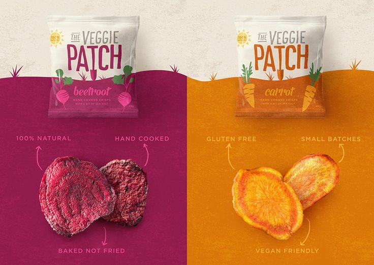 Snack smarter with The Veggie Patch. These delightful, lightly salted snacks are baked and not fried so they're not overly greasy and there are no mystery ingredients—just 100% all natural goodness. Our Revolution designed the branding and packaging for the company that turns classic veggies into hand cooked crisps.