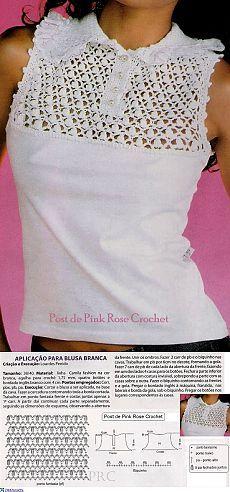 Переделка: кокетка крючком для трикотажной блузки.