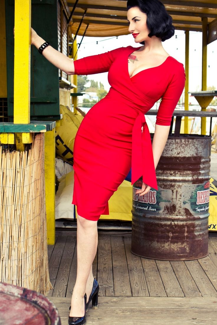 So Couture - Red Hourglass Pencil dress with 3/4 sleeves
