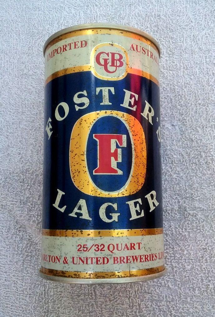 Fosters Australian Beer Vintage Can 32 Quart Size old vtg in