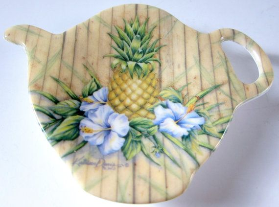 Tea Strainer MelamineTeabag Spoon Caddy Drip Tray Collectible Tropical Teapot Holder