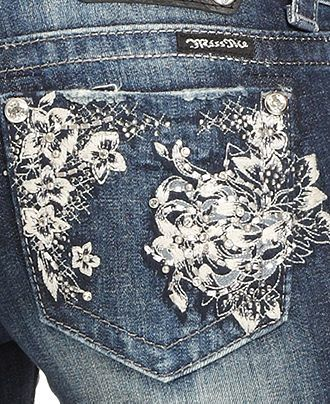 Miss Me Jeans, Bootcut Rhinestone Floral Embroidered Dark-Wash - Womens Jeans - Macy's