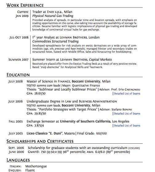 Good Cv Layout What Makes A Good Cv Stand Out Monstercouk Good Cv - derivatives analyst sample resume