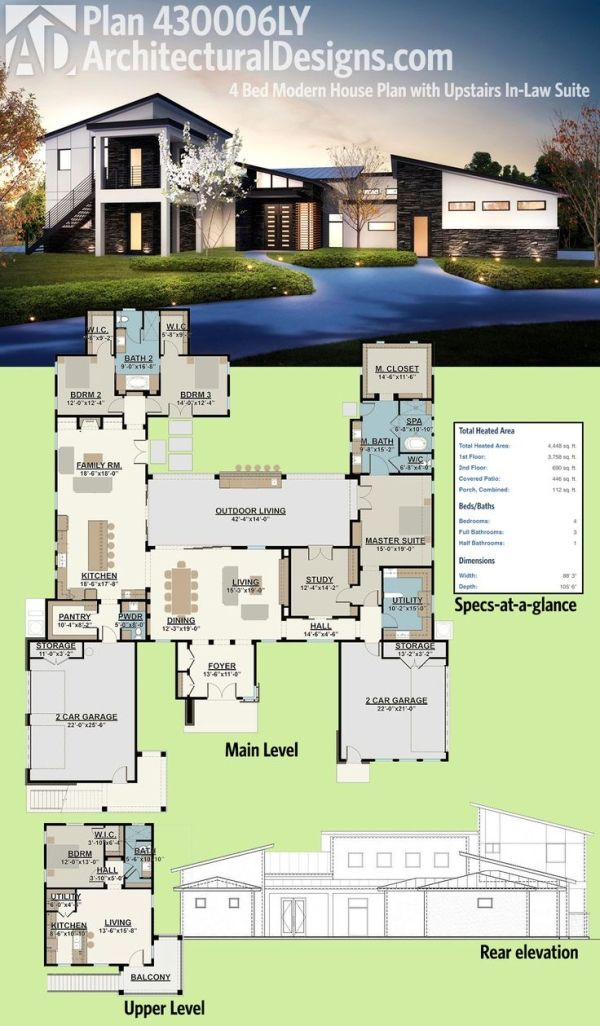 Architectural Designs Modern House Plan 430006LY has an upper level in-law or guest suite complete with a bedroom, living room and kitchen and stairs that go directly to it from the outside. Over 4,400 square feet of heated living space. Ready when you are. Where do YOU want to build? by maryanne