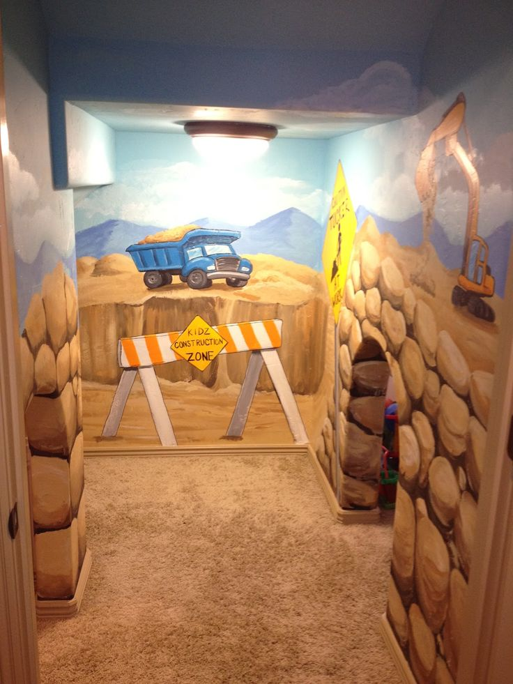 Itu0027s Great To Add Character And Inspire Imagination In Spaces Like Under  The Stairs. This Is A Fun Construction Zone Play Room For Kids.