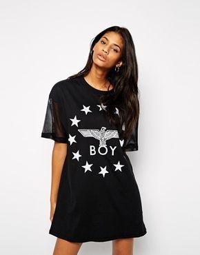 Boy London T-Shirt Dress With Reflective World Logo & Mesh Sleeves