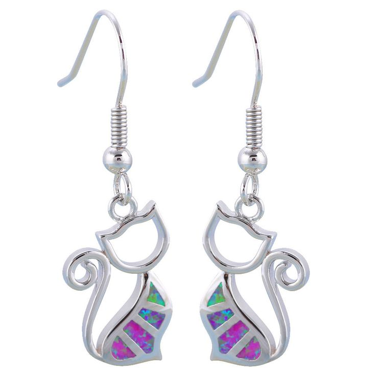 Oes628 Black Friday Cat Design Pink Fire Opal Silver Fashion Drop Earrings