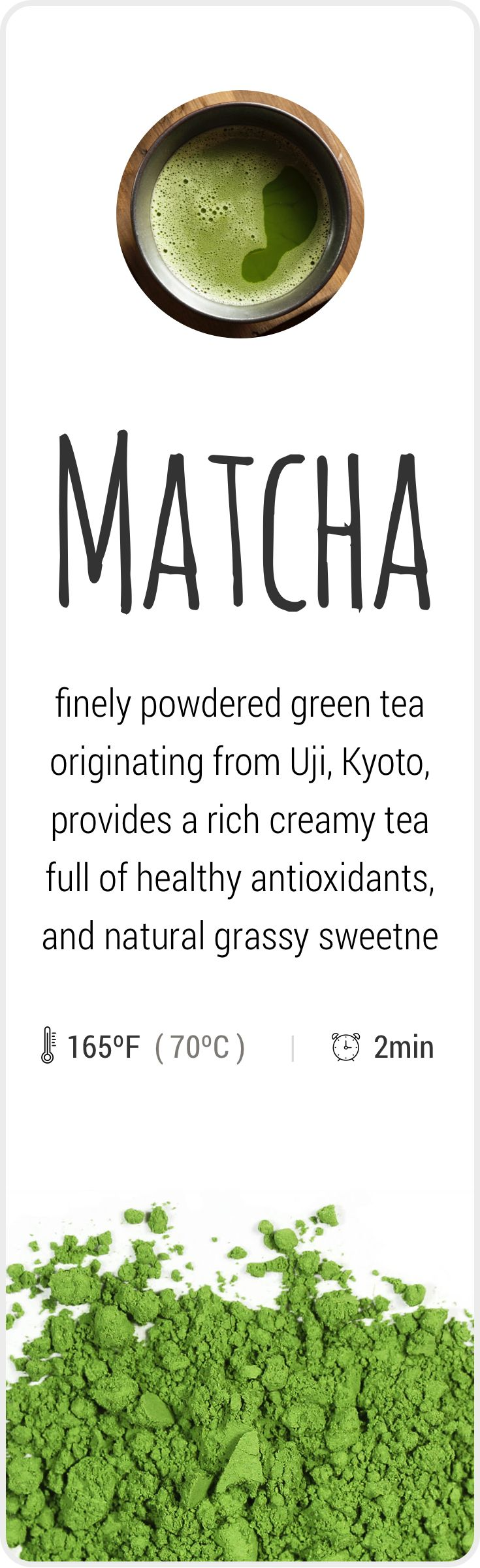 Farm-fresh powdered green Matcha tea from Uji, Japan.