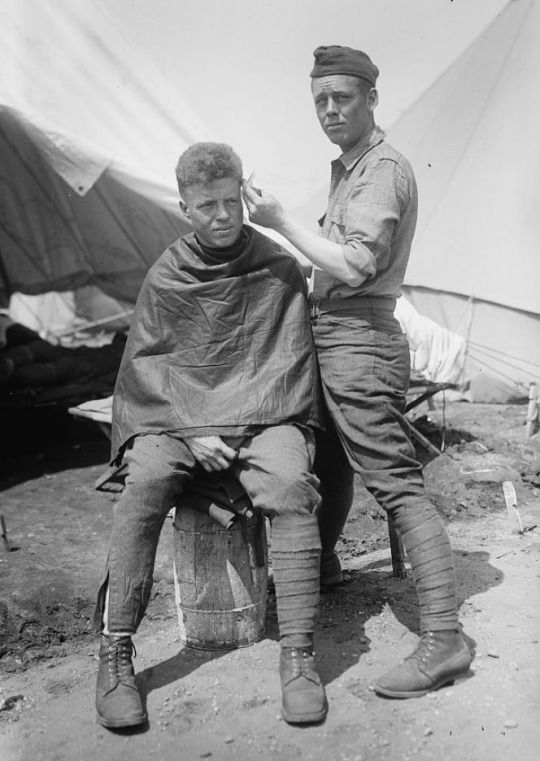 Camp barber, ca. 1915