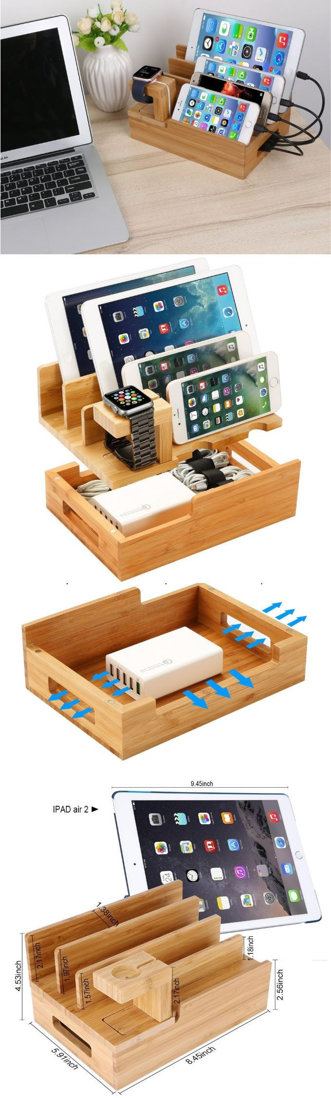 Bamboo Wooden Multi- Device Apple Watch Charging Station Dock Holder & iPhone SmartPhone iPad Tablets Laptops Charging Station Dock Holder Stand Mount Charge Cord Cable Organizer Management System For Smart Phones, Tablets and Laptops