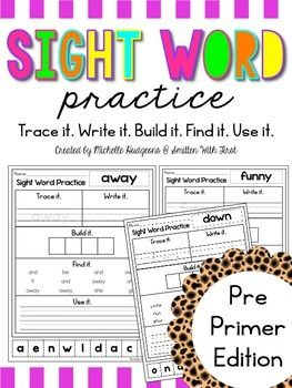 FREE!  This packet includes 39 sight words (Pre-Primer Dolch Word List) practice pages. Each page includes a trace it, write it, find it, use it in a sentence, and build it for each sight word. These pages are great for homework, practice pages, stations, interventions, or for reinforcement.