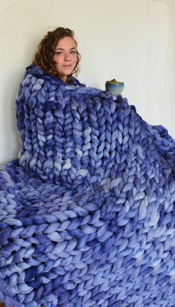 Chunky Knit Blanket 100% Merino Wool Throw Chunky Blankets