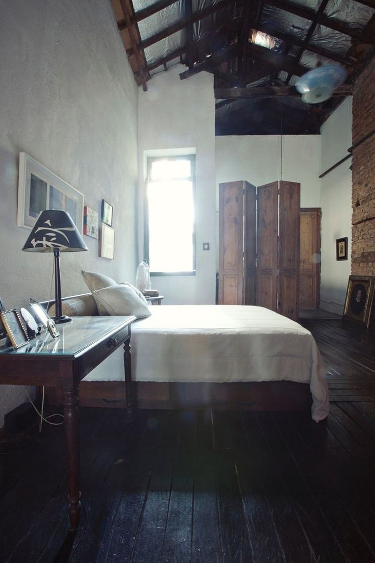 Trifecta.   Brazilian bedroom. Dark wood, white linens. Woodnote Photography for Rue Magazine.