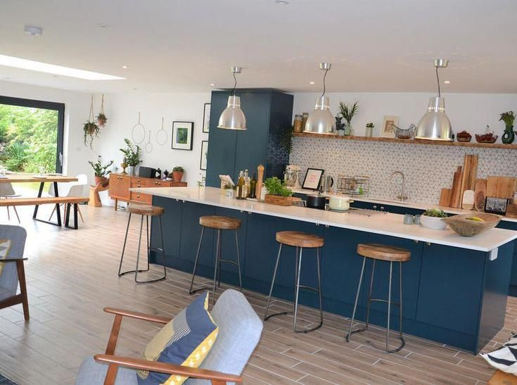 Open Plan Kitchen Living Dining Room Industrial Vibe With Blue Kitchen And S In 2020 Open Plan Kitchen Dining Living Open Plan Kitchen Living Room Living Room Kitchen #open #dining #and #living #room