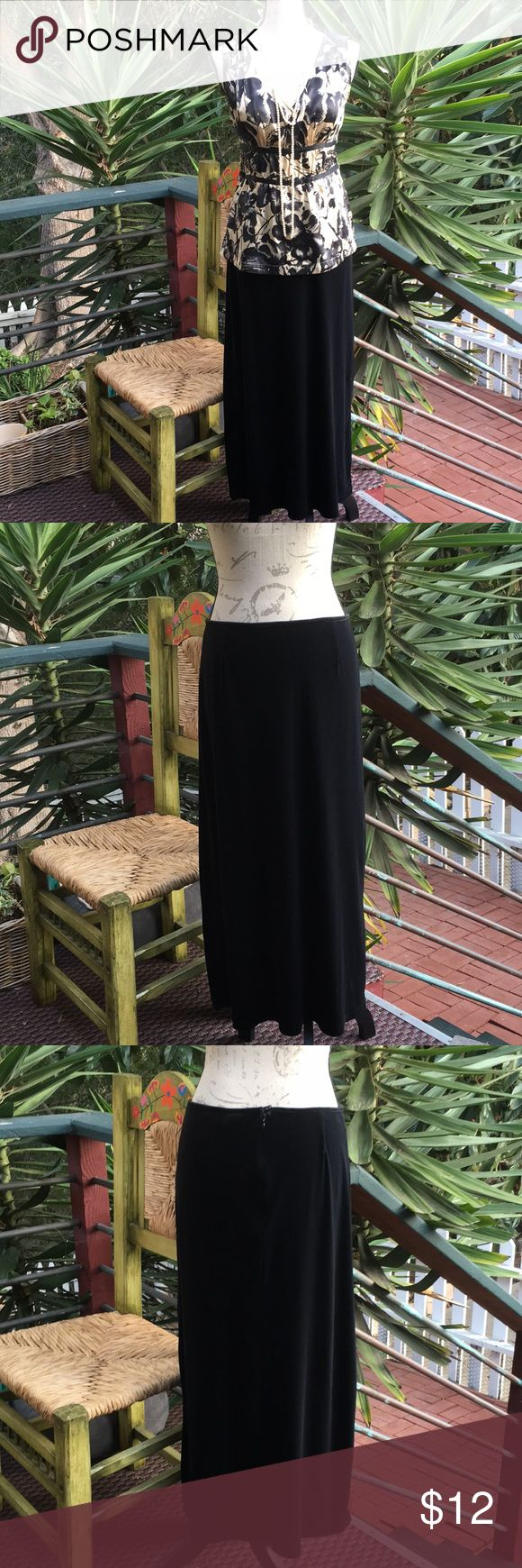 """Old Navy - Long Velvet Skirt GUC. No stains or flaws. Pretty black long skirt with velvet like material.  92% polyester and 8% spandex  hidden back zip with button loop closure NO lining Waist=15"""" Length=35"""" Old Navy Skirts Maxi"""