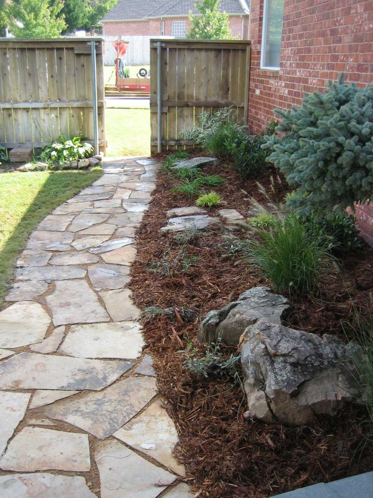 Walkways run along side of house landscaping for Walkway landscaping