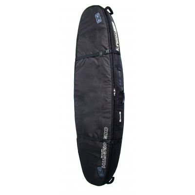 Ocean & Earth double coffin shortboard travel bag. Holds up to 3 boards.  600D Polyester; 10mm waterproof padding; Foam divider; Internal and external compression straps to minimise board movement; Detachable and stashable shoulder strap; Heavy duty, large, non-corrosive nylon zips; 20mm shock absorbing double thick gusset padding; Durable PVC skid plate; Internal wax and fin pouch; Removable storage hook.