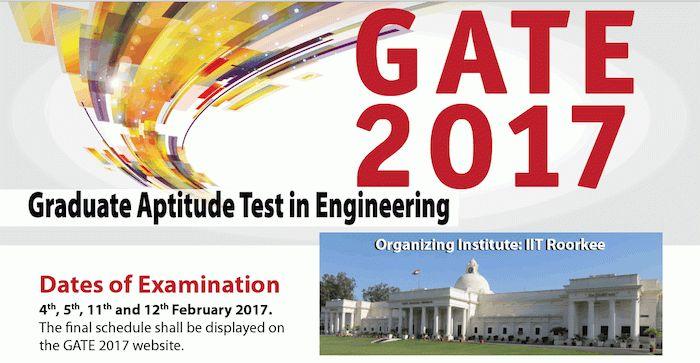 GATE 2017 Exam Dates