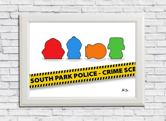 South Park  Crime Scene Minimalist Print Art Home by Toons4Fun