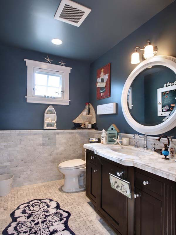 Nautical bathroom idea- I like the tiles with the wall color